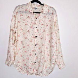 CP Shades Floral Button Linen Top